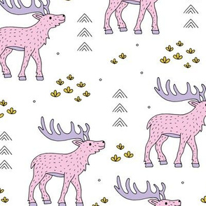 Little moose and arrows wild life mountain animals woodland design pink lilac