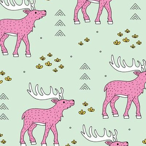 Little moose and arrows wild life mountain animals woodland design mint pink