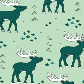 Little moose and arrows wild life mountain animals woodland design mint green