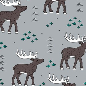 Little moose and arrows wild life mountain animals woodland design gray green