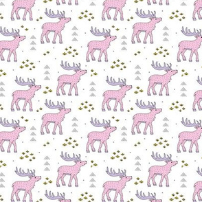 Little moose and arrows wild life mountain animals woodland design pink lilac SMALL