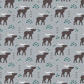 Little moose and arrows wild life mountain animals woodland design gray green SMALL