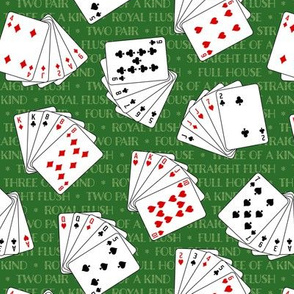 Winning Poker Hands on Green (Small Scale)