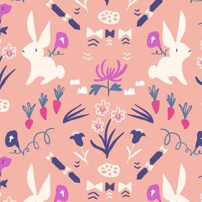 Folk Bunny Peach, large scale