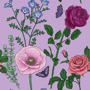 Botanical Flower Pattern - Light Purple