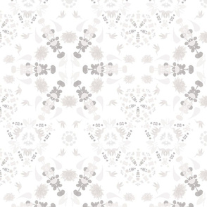 flower snowflake - gray and pink