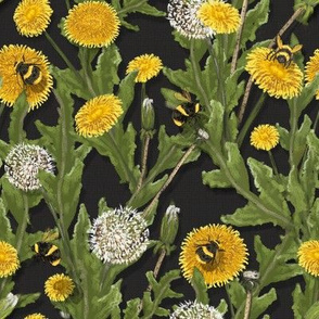 Dandelions on Black//Widdle Bitty Bees