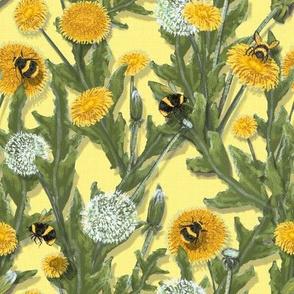 Widdle Bitty Bees Dandelions on Buttercream Yellow//Kim Marshall