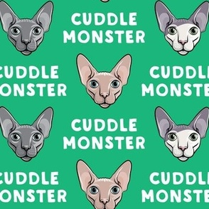 Cuddle Monster - Sphynx Cats - Hairless Cats - Green - LAD19