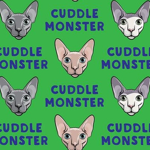 Cuddle Monster - Sphynx Cats - Hairless Cats - Green and Blue - LAD19