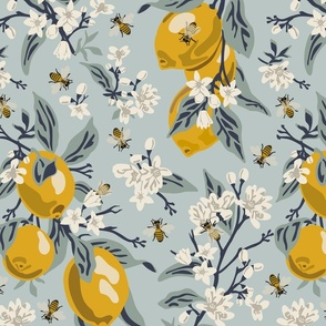 Bees And Lemons - Blue - Large