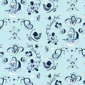 Blue bird Chinoiserie