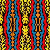 Yellow Ornate, Red and Blue