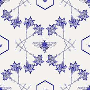 Honey Bee - Queen of Pollinators, Blue on White