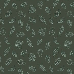 Ditsy Woodland Leaves - simple line Forest Green 2