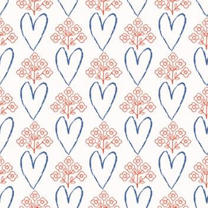 1950s Style Retro Love Heart Floral Seamless Pattern