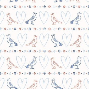 Romantic Lovebirds Brushstroke Heart Seamless Pattern