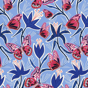 lilies and butterflies - periwinkle blue