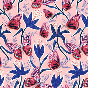 lilies and butterflies - pink