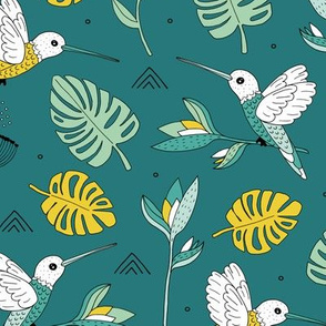 Little hummingbirds and birds of paradise tropical rainforest leaves summer teal mustard yellow
