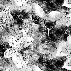 COMICS  BUTTERFLIES ON FLOWERS FIELDS BLACK AND WHITE 1