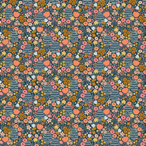 Bee garden dark small repeat