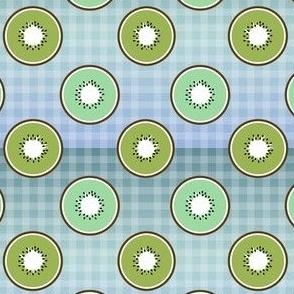 Kiwi slices seamless on grid texture