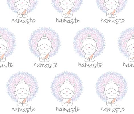 Cute Buddha sending greetings The word 'Namaste' is a