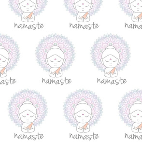 Cute Buddha sending greetings The word 'Namaste' is a respectful greeting also called 'Namaskar'