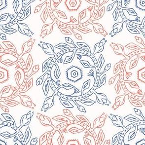 1950s Style Retro Flower Wreath Seamless Pattern