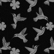 Hummingbirds in Flight - Monochrome
