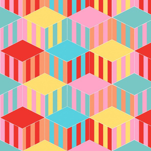 Striped Tumbling Blocks in Trendy 1950s Colors