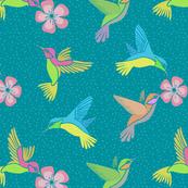 Hummingbirds in Flight - Teal