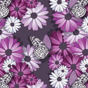 African Daisy Spring Floral // small scale // violet