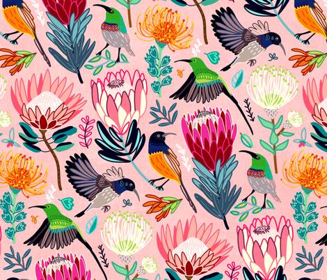 Sunbirds & Proteas (Large Version) fabric by tigatiga on Spoonflower - custom fabric