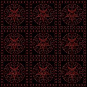 Sigil of Baphomet, Triple moon, Baphomet Goat with Satanic symbols