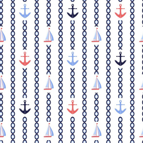 Anchors and sailboats nautical print
