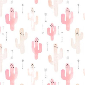 Watercolor cactus illustration indian summer theme with arrows in blush peach pink and gray