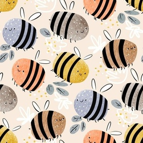 watercolor bees pattern