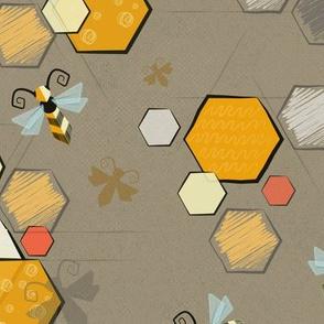 Mid century modern bees -grey