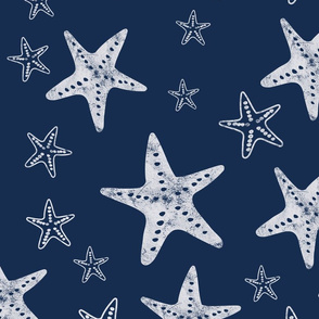 Starfish Navy and white - Large Scale