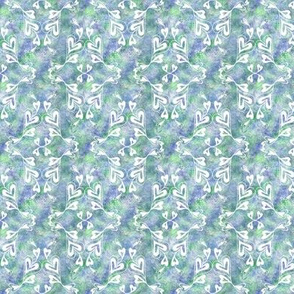 White Hearts on Blue Green Texture Small