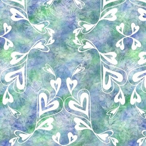 White Hearts on Blue Green Texture Med