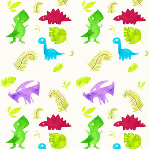Cute Watercolor Dinosaurs