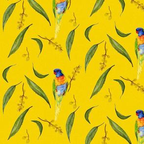 Lorikeet & Eucalyptus on Mustard Linen