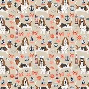 SMALL - basset hound dog breed nautical themed fabric beige