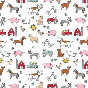 SMALL - farm // nursery kids gender neutral cow chicken pig barn farms fabric white colorful