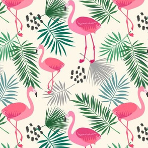 Flamingo and Leaves