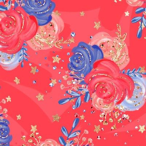Patriotic 4th of July Red White Blue Flowers Glitter