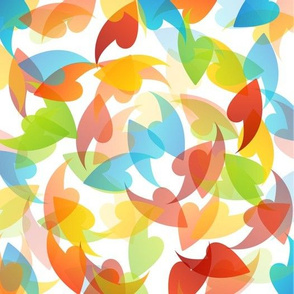 Mid Century rainbow leaves motifs